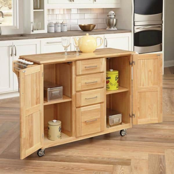 Homestyles Natural Wood Kitchen Cart With Breakfast Bar 5089 95 The Home Depot