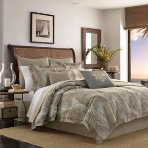 Raffia Palms Brown Cotton 4-Piece Queen Comforter Set