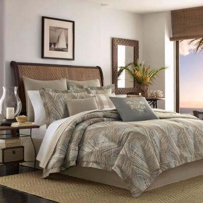 Tommy Bahama Raffia Palms Brown Cotton, Grey King Size Bedding Next
