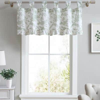 Natalie 20 in. W x 50 in. L Cotton Floral Tab Top Valance in Pastel Green