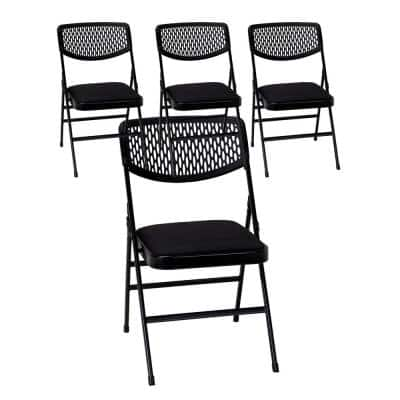 Black Fabric  Padded Seat Folding Chair (Set of 4)