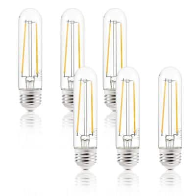 Sovana 40-Watt T10 / 4.9 in. Clear LED Filament Light Bulbs (6-Pack)