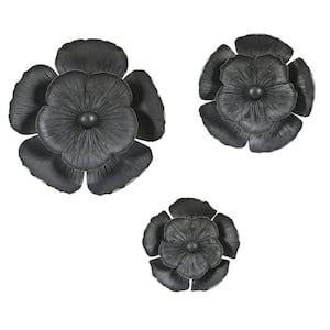 3-Piece Black Metal Flowers Wall Decor