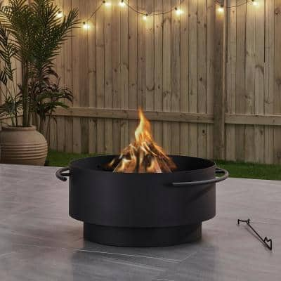 Brooks 28 in. x 13.4 in. Round Charcoal Powder Coated Steel Wood Burning Fire Pit
