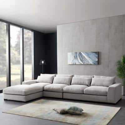 3-Piece 115 in. W Light Gray Linen Reversible Sectional Sofa and Chaise with Ottoman