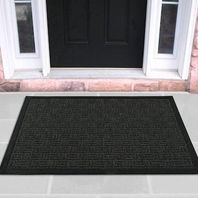 Charcoal 18 in. x 30 in. Loop Carpet Natural Rubber Door Mat