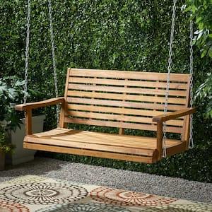 Tasmania 49.50 in. 2-Person Teak Brown Wood Porch Swing