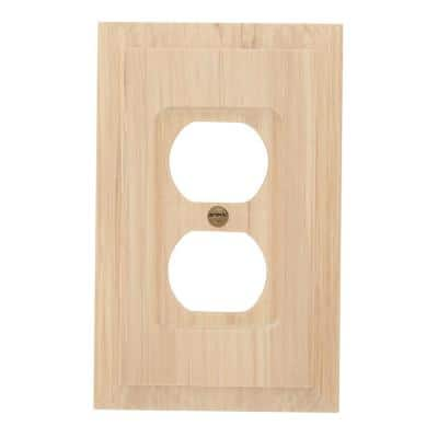 Cabin 1 Gang Duplex Wood Wall Plate - Unfinished