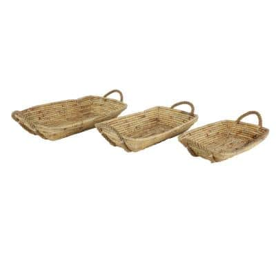 Soft Gray Water Hyacinth, Seagrass, and Rope Decorative Wicker Trays with Handles (Set of 3)