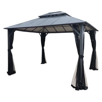 12 ft. x 10 ft. Metal Outdoor Patio Gazebo with Insulated Double-Roof Hardtop and Netting
