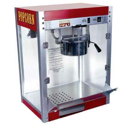 Theater Pop 6 oz. Red Stainless Steel Countertop Popcorn Machine