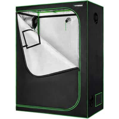 5 ft. L x 3 ft. L Mylar Hydroponic Grow Tent with Observation Window Floor Tray for Indoor Plant Growing