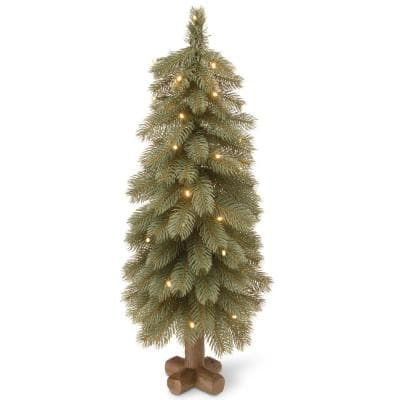 30 in. Feel-Real Bayberry Blue Cedar Tree with Battery Operated LED Lights