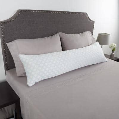 White Hypoallergenic Memory Foam Body Pillow with Removable Cooling Relief Cover