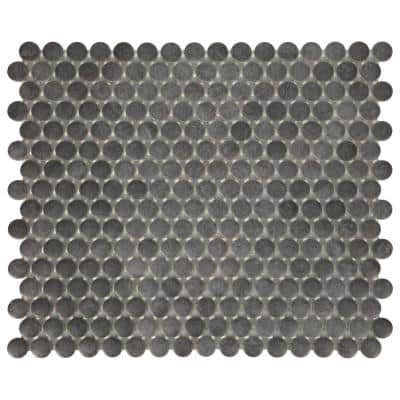 Cascade Ridge Slate 11 in. x 13 in. Glazed Ceramic Penny Round Mosaic Tile (1.06 sq. ft./Each)