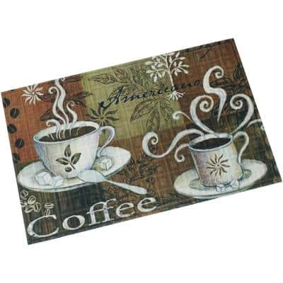 Coffee 35 in. x 23 in. Polyester Kitchen Mat