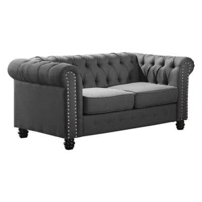 Romeo 61 in. Charcoal Linen 2-Seater Chesterfield Loveseats