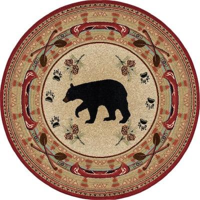 Hearthside Woodlands Bear Red Lodge 8 ft. Round Area Rug