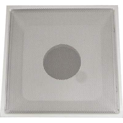 24 in. x 24 in. Drop Ceiling T-Bar Perforated Face Return Air Vent Grille, White with 10 in. Collar