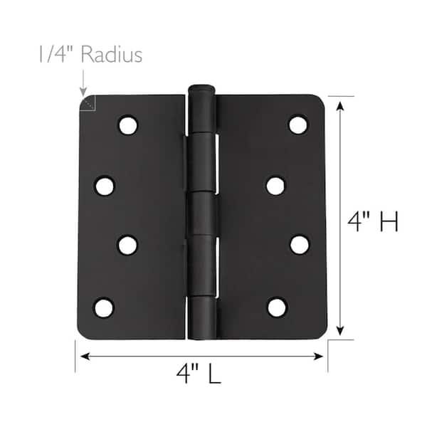 Design House 4 In X 1 4 In Radius Matte Black Door Hinge Value Pack 10 Per Pack 188953 The Home Depot
