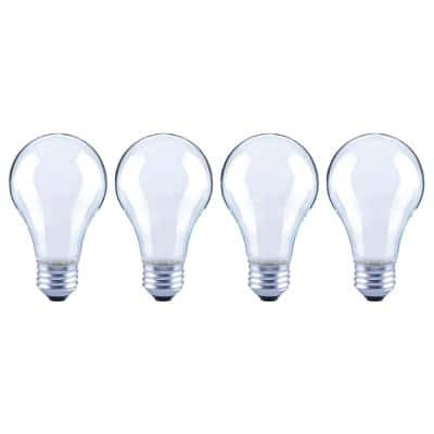 60-Watt Equivalent A19 Dimmable ENERGY STAR Frosted Glass Filament Vintage Edison LED Light Bulb Bright White (4-Pack)