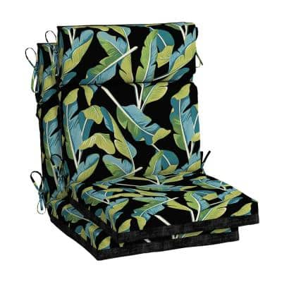 Banana Leaf Tropical Outdoor High Back Dining Chair Cushion (2-Pack)
