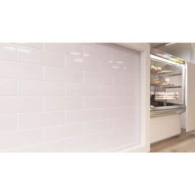 Rose Pale Pink 3 in. x 6 in. Wall Glossy Subway Glass Tile (5 sq. ft./Case)