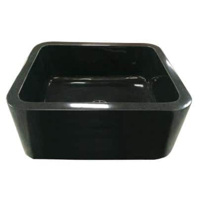 Acantha Farmhouse Apron Front Granite Composite 24 in. Single Bowl Kitchen Sink in Polished Black