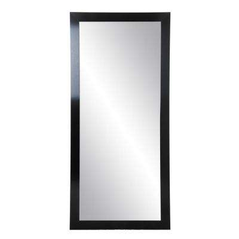 Medium Black Composite Hooks Modern Mirror (32 in. H X 66 in. W)