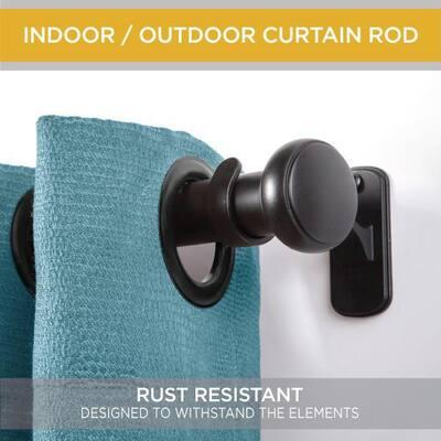 Weaver 72 in. - 144 in. Adjustable 1 in. Single Indoor/Outdoor Rust-Resistant Curtain Rod in Black