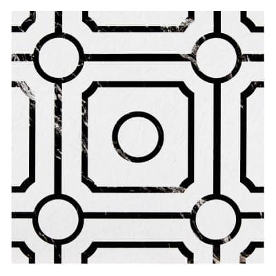 Retro 12 in. W x 12 in. L Carrera Black/White Water Resistant Peel and Stick Vinyl Tile Flooring (20 sq. ft./case)