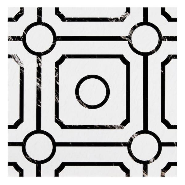 Achim Retro 12 In W X L Carrera, Black And White Tile Flooring Vinyl