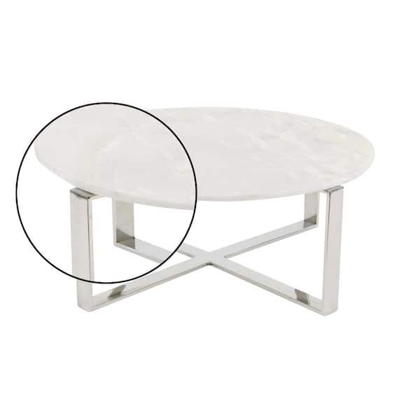 White Medium Round Stone Coffee Table, White Round Coffee Tables