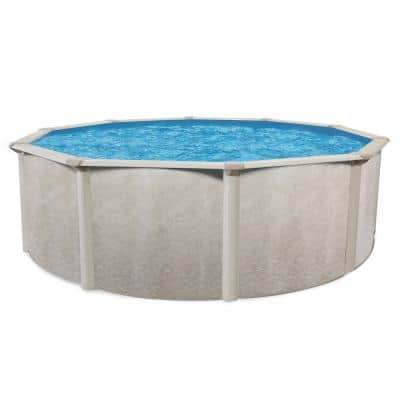 21 ft. W x 52 in. Deep Hard Sided Steel Framed Round Above Ground Outdoor Swimming Pool