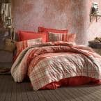 Orange in West Turkish Cotton, Queen Size Duvet Cover Set, 1 Duvet Cover, 1 Fitted Sheet and 2 Pillowcases
