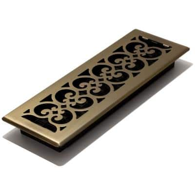 4 in. x 14 in. Steel Floor Register in Antique Brass