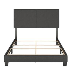 Barrett King Charcoal Linen Upholstered Platform Bed Frame