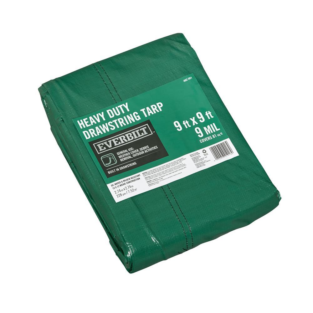 9 ft. x 9 ft. Green Heavy Duty Drawstring Tarp