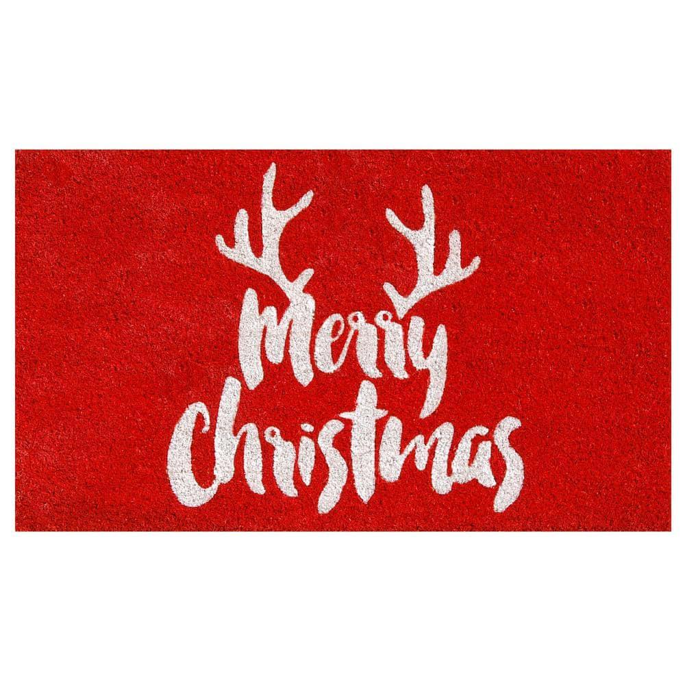 Calloway Mills Christmas Antlers 17 In X 29 In Coir Door Mat 101741729 The Home Depot