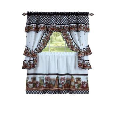 Mason Jars Black/White Polyester Light Filtering Rod Pocket Cottage Curtain Set 57 in. W x 24 in. L