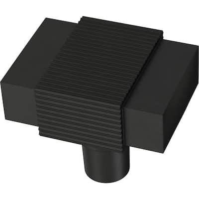 Fluted Square 1-19/32 in. (41 mm) Matte Black Cabinet Knob