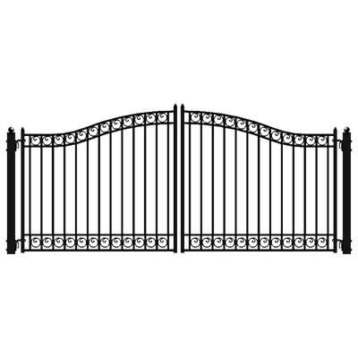 Dublin 18 ft. x 6 ft. Black Steel Dual Driveway Fence Gate