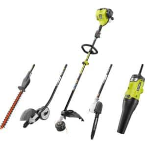 25 cc Gas 2-Cycle Attachment Capable Full Crank Straight Shaft String Trimmer and Ultimate Attachment Kit