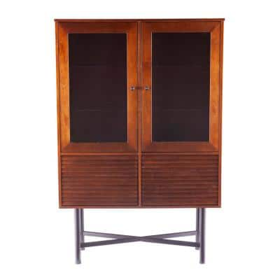 Tertia Dark Brown and Black Curio Cabinet with Glass Doors