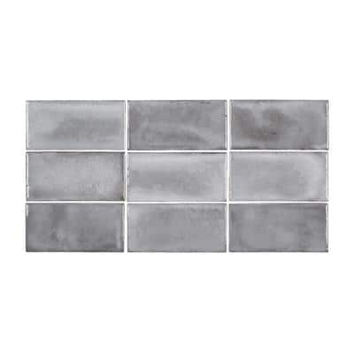 Gris Rustico 3 in. x 6 in. Glossy Textured Ceramic Wall Tile (5.38 sq. ft./Case)