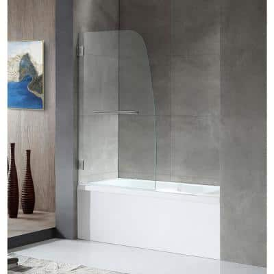 GRAND Series 34 in. x 58 in. Frameless Hinged Tub Door in Brushed Nickel with Towel Bar Handle