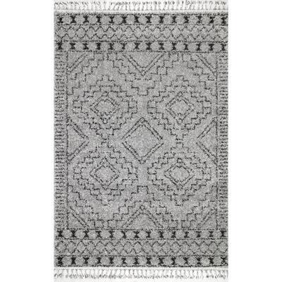 Vasiliki Moroccan Tassel Shag Gray 9 ft. x 12 ft. Area Rug