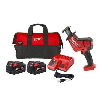 M18 FUEL 18-Volt Lithium-Ion Cordless HACKZALL Reciprocating Saw & Starter Kit with (2) Batteries, Charger, & Tool Bag