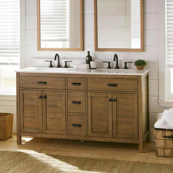 Home Decorators Collection Stanhope 61 In W X 22 In D Vanity In Reclaimed Oak With Engineered Stone Vanity Top In Crystal White With White Sink Snovt6122d The Home Depot