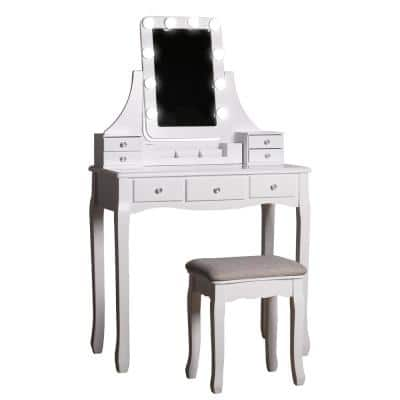 Modern White Wooden Vanity Makeup Table Sets With Rectangle LED Light Mirror and Stool